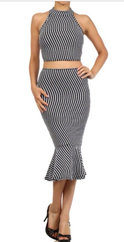 Image of Peplum high waist skirt