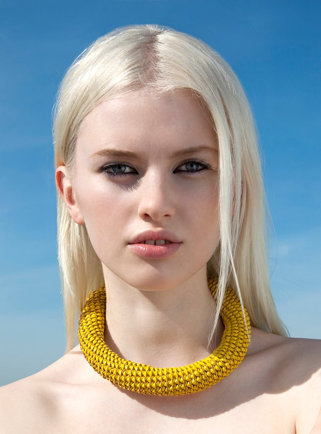 "Image of ""Sunburst"" Yellow Oversized Leather Neckpiece"