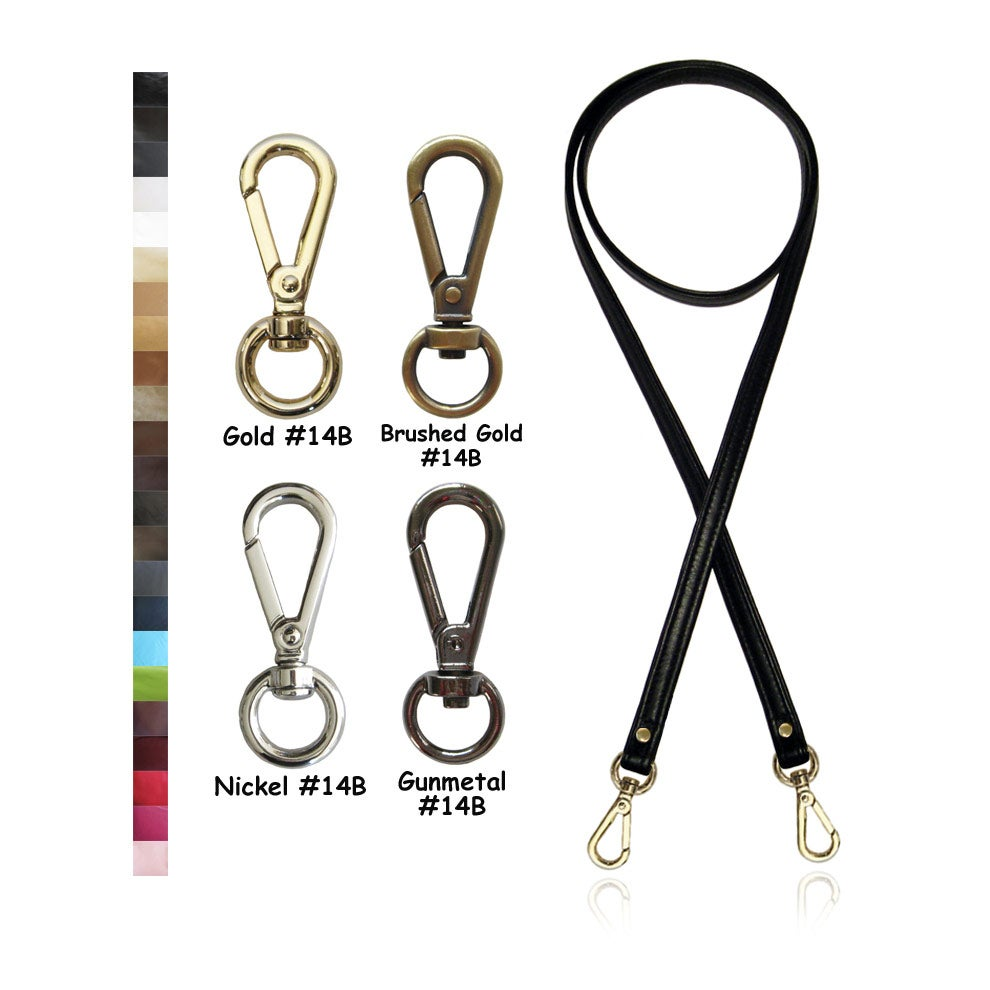 """Image of 50"""" (inch) Cross Body Strap - .5"""" Wide - Choose Leather Color & Hardware Finish with #14B Hooks"""