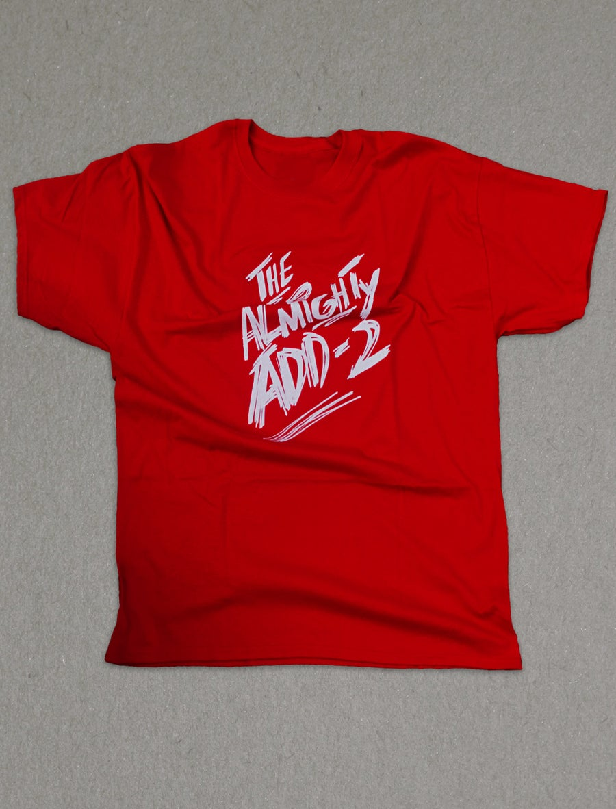 """Image of """"Almighty Add-2"""" T-Shirt (RED)"""