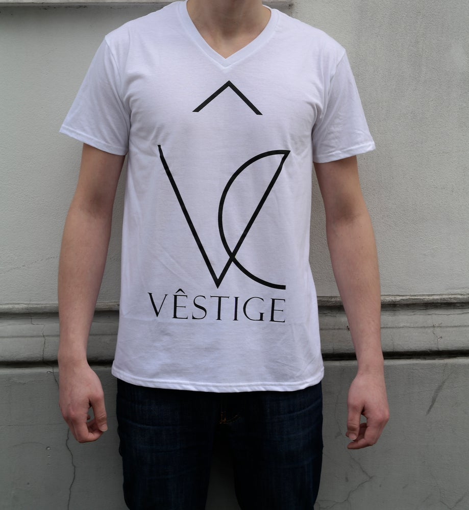 "Image of V-Shirt ""Vêstige Logo"" white"