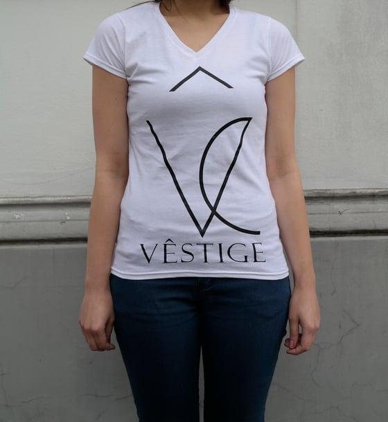 "Image of V-Girly ""Vêstige Logo"" white"