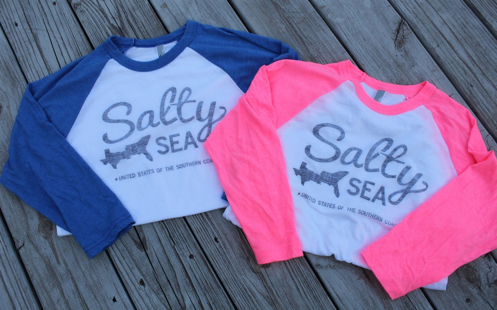 Image of Salty States Baseball Tee - Athletic Blue