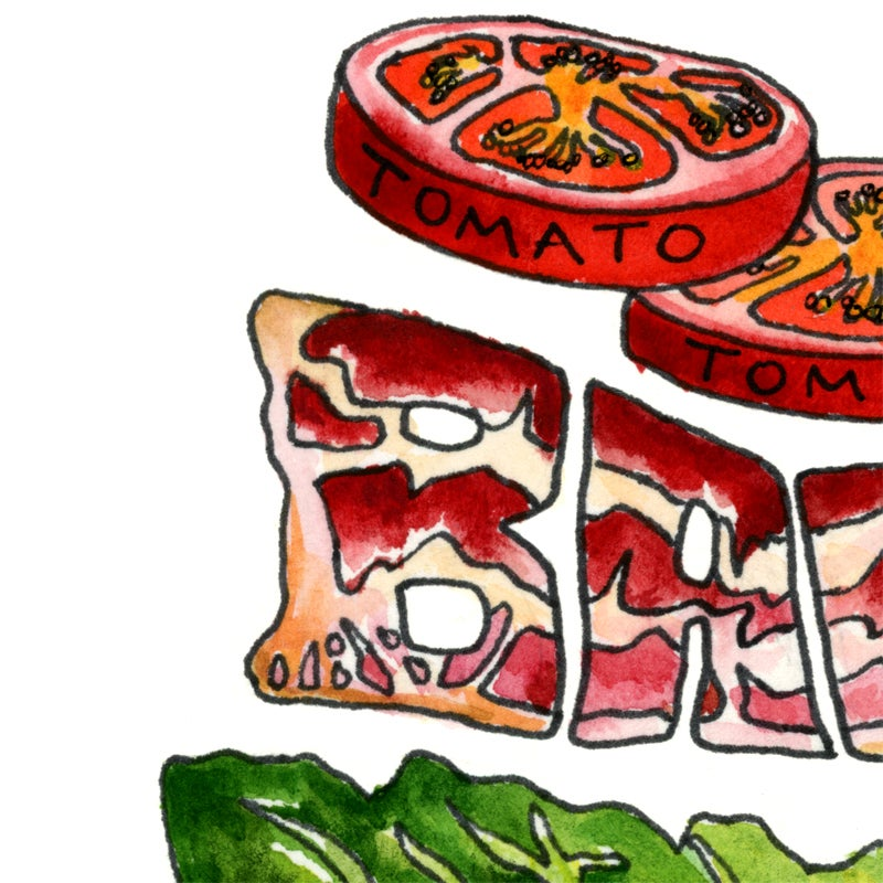 Image of B.L.T. Exploded Sandwich Watercolor Print