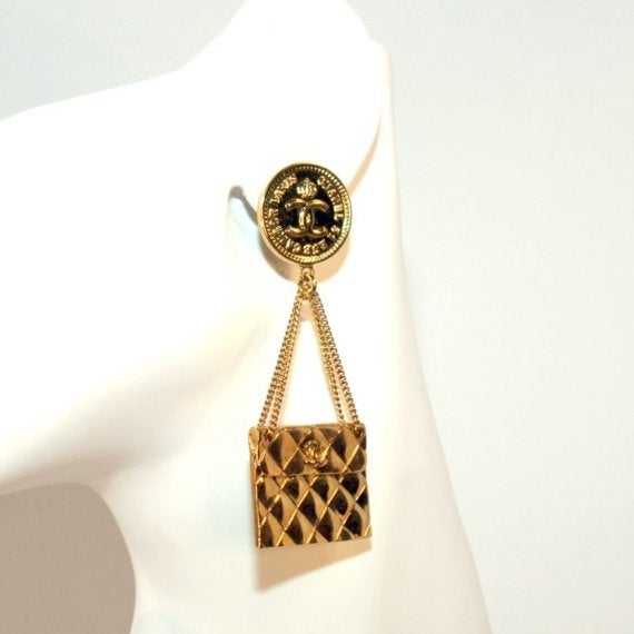 Image of SOLD OUT FEATURED ITEM Chanel Vintage 2.55 Quilted Matelasse Handbag Earrings 95P