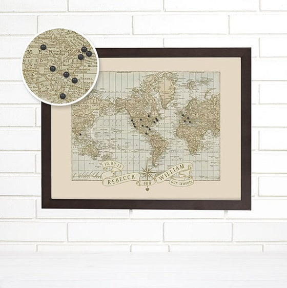 Home imaginenations by wendy gold image of push pin custom vintage wedding or anniversary map world gumiabroncs Gallery