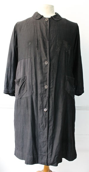 Image of 1910'S FRENCH BLACK MOLESKIN COAT FADED & PATCHED