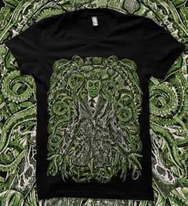 "Image of ""Cthulu"" Green on black shirt"