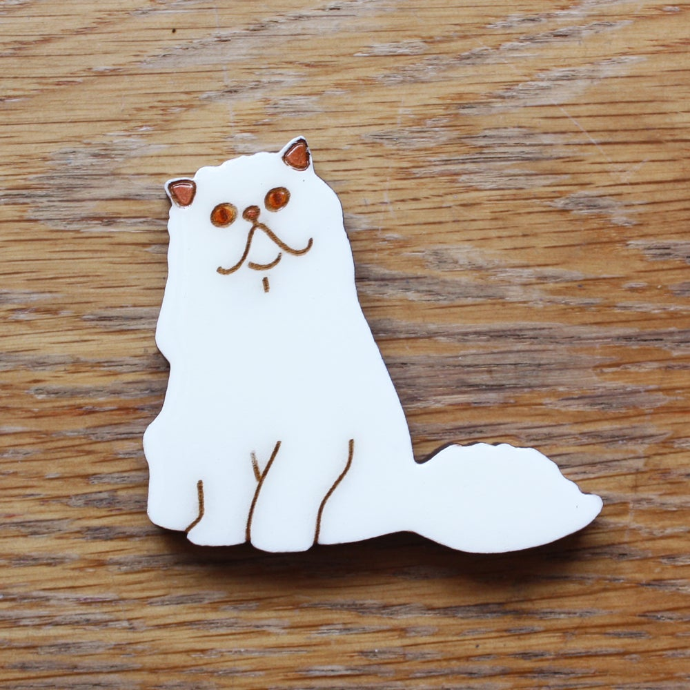 White Persian Cat Brooch