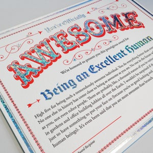 Image of Certificate of Awesomeness