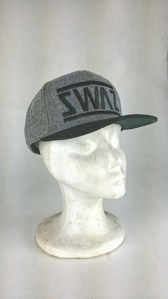 Image of Swaz Melton Wool Caps 'Black on Grey'