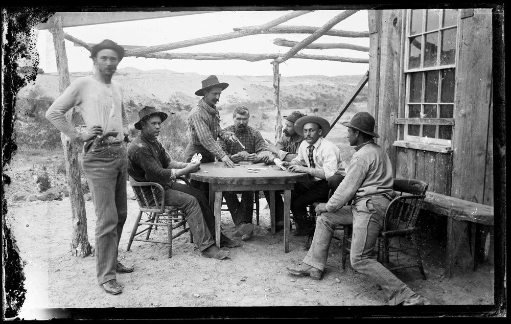 Image of Glass Plate Neg of railroad workers playing cards (Revolver drawn)