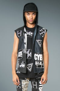 Image of Sleeveless Denim Shirt With Hoodie & Hand Stitch Badges