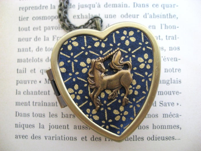 Image of Little Unicorn Music Box Locket - regal blue & gold
