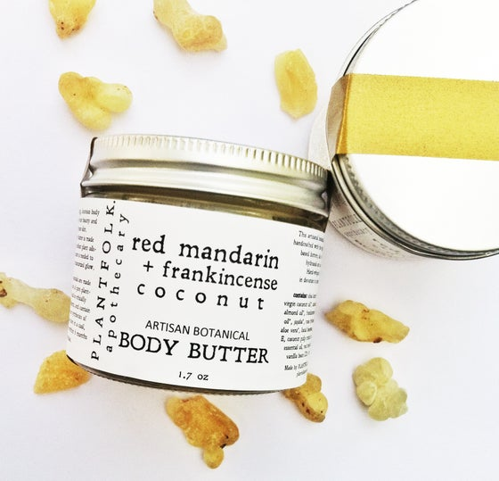Image of red mandarin + frankincense + coconut artisan whipped body butter