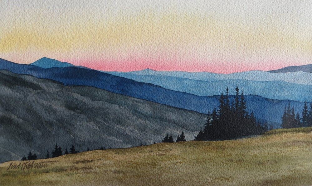 "Image of ""Rocky Mountain High"" original watercolor"