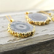 Image of Speleothem - Gold Amethyst Stalactite Slice Necklace