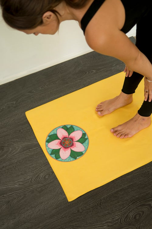 Image of Mandala Yoga Towel - Yellow with Cherry Blossom and White Lotus