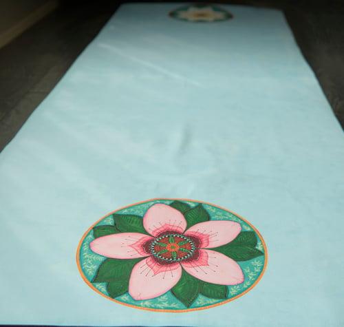 Image of Mandala Yoga Towel - Blue with Cherry Blossom and White Lotus