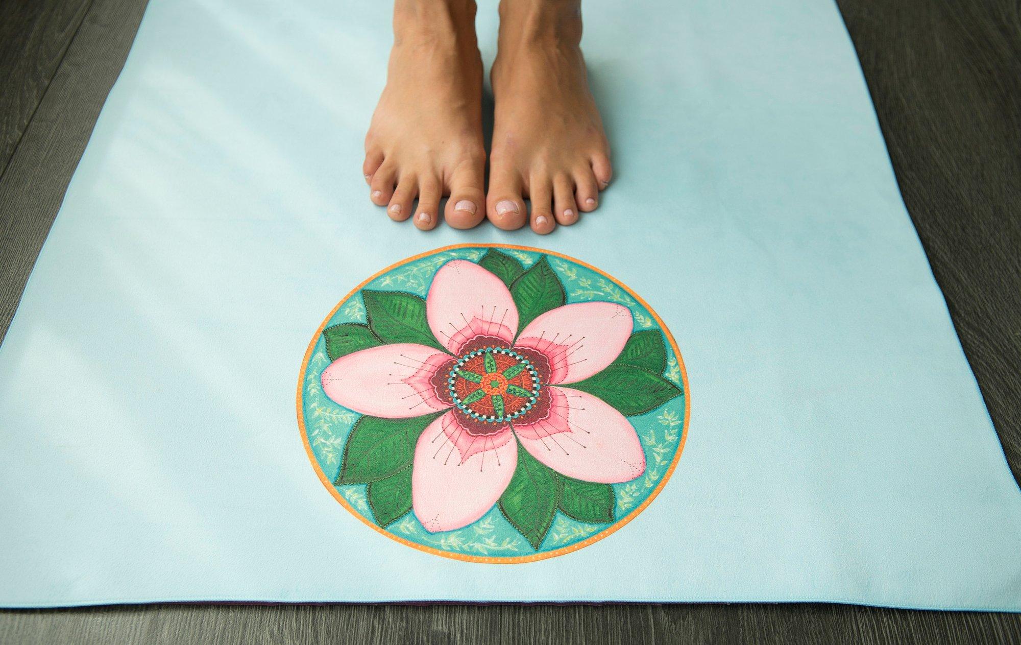 Mandala Yoga Towel Blue With Cherry Blossom And White Lotus
