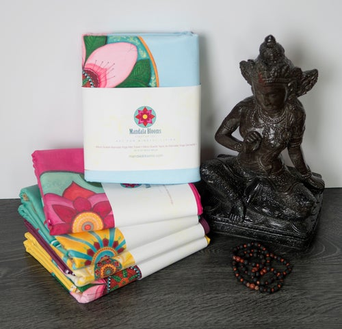 Image of Mandala Yoga Towel - Blue with Cherry Blossom and White Lotus