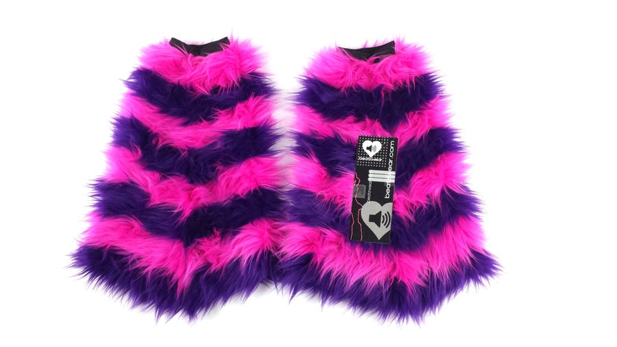 Image of Striped fluffies purple and pink Cheshire Cat inspired
