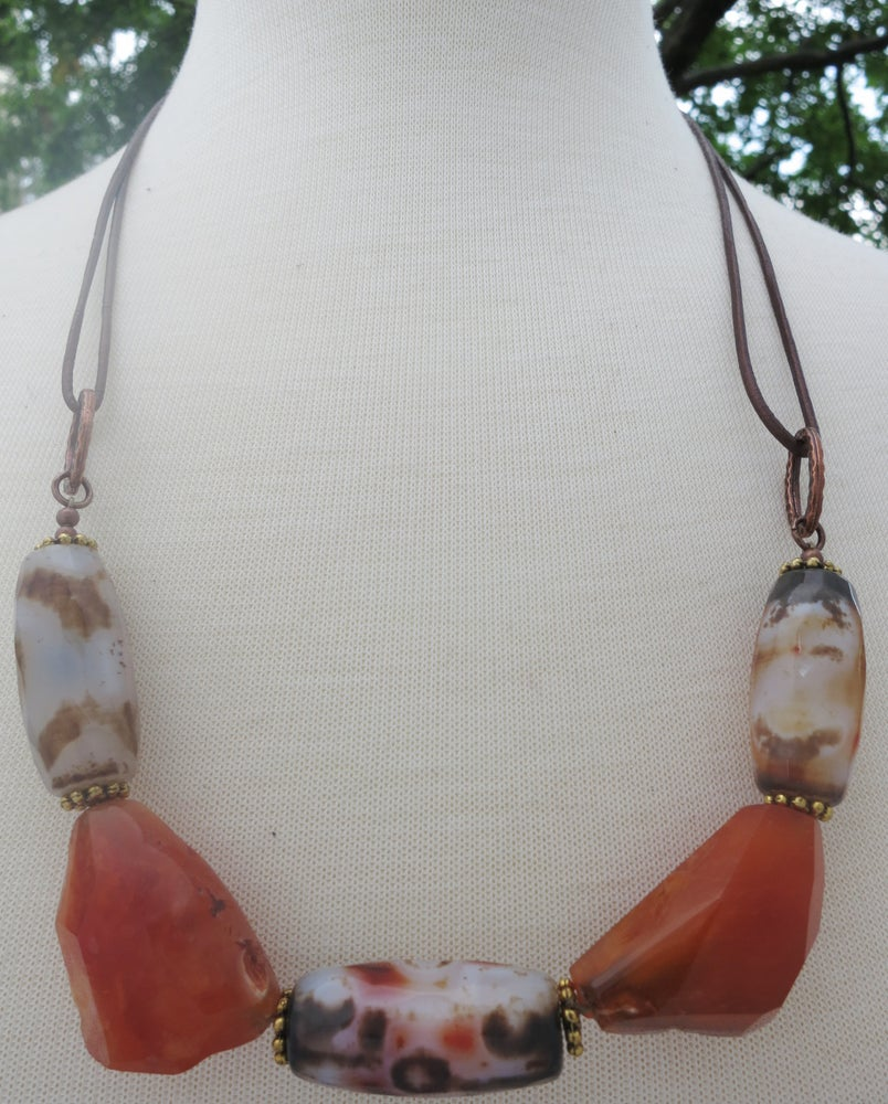 Image of Carnelian & Agate Leather Cord Necklace