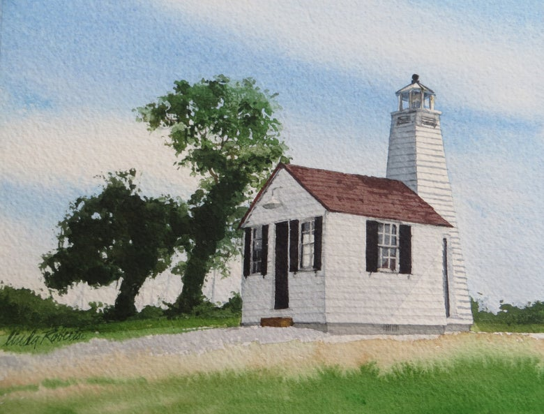 """Image of """"Gibson Island Lighthouse"""" original watercolor"""