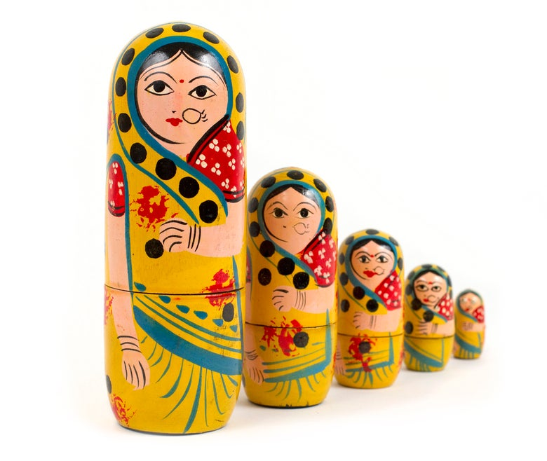 Image of Hand painted Indian 'Russian' Dolls / Varanasi
