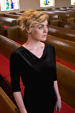 Image of Velvet V-neck Tunic Top