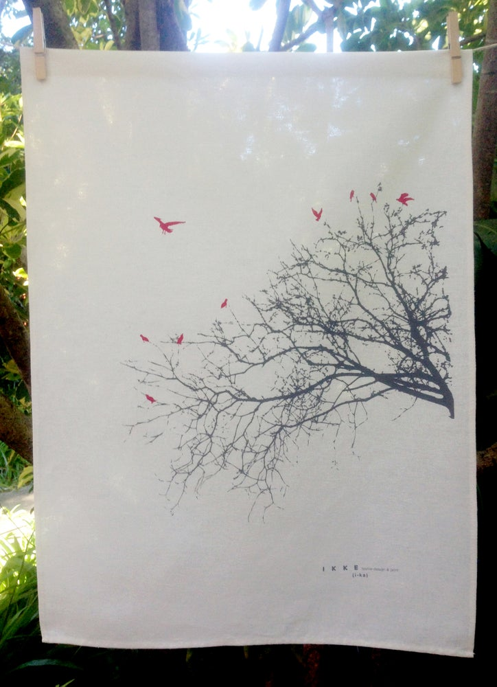 Image of Linen tea towel Side branch with red birds