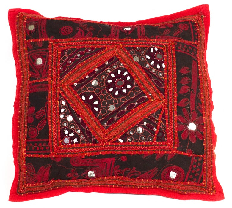 Image of Handmade cushion cover / Red / Rajasthan