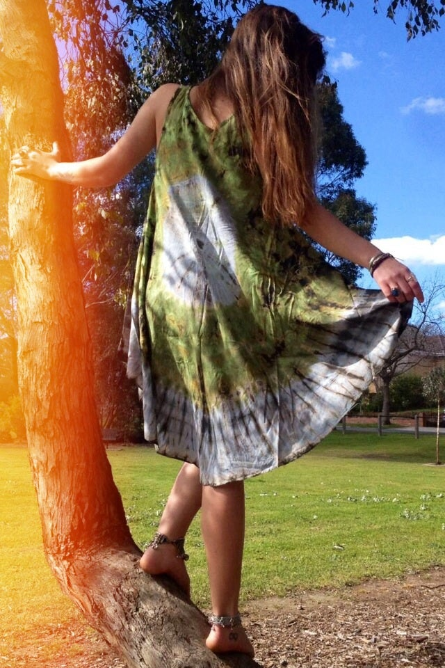 Image of Halfmoon tiedye midi dress