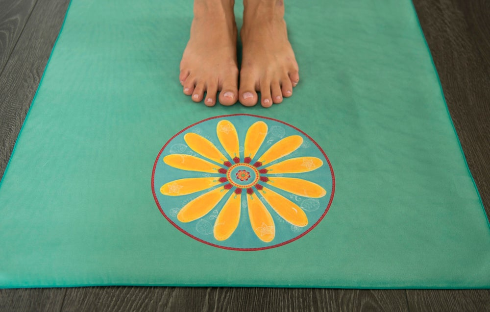Image of Mandala Yoga Towel - Turquoise (green) with Yellow Mehndi Daisy and Pink Lotus