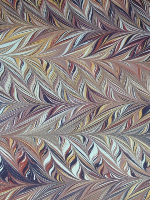 Image of Marbled Paper #57 Intricate comb - browns