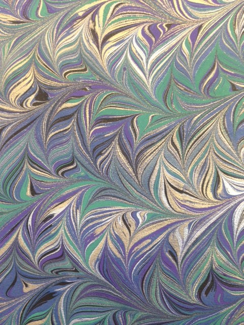 Image of Marbled Paper #60 Intricate combed metallic on blue base