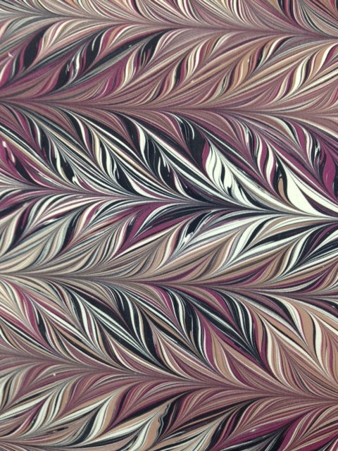 Image of Marbled Paper #63 Intricate combed - maroon, black and Latte