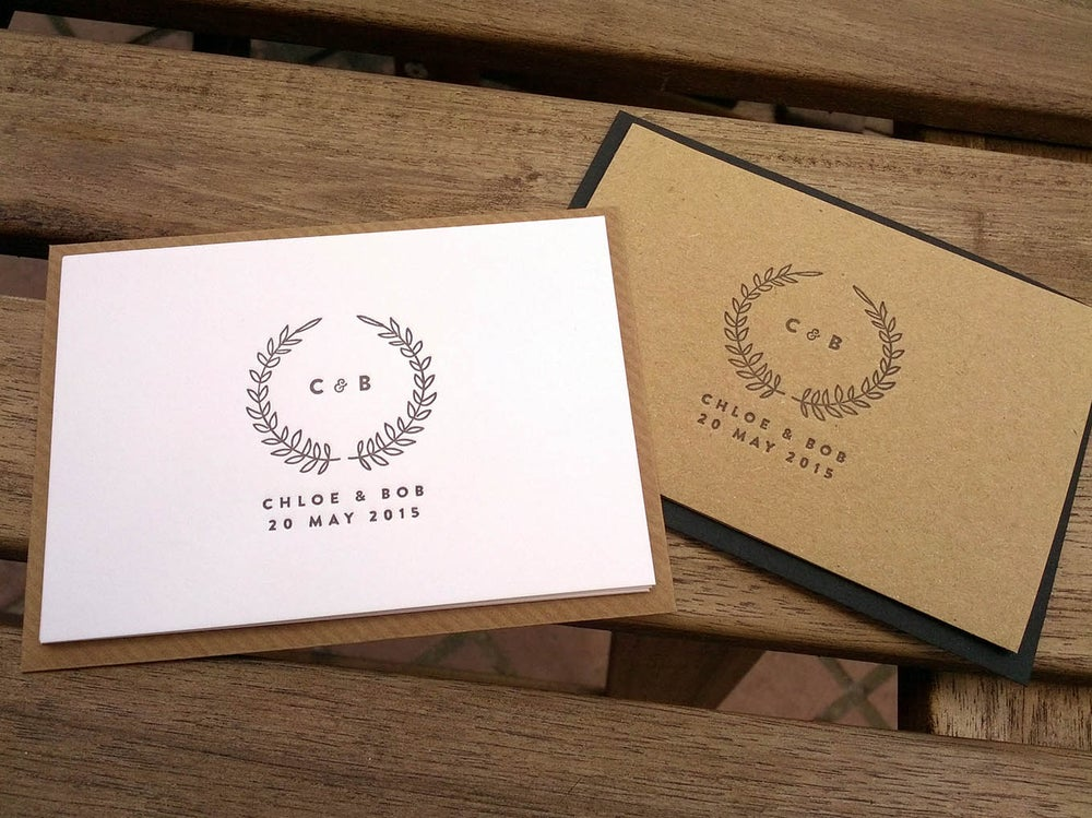 Image of Save the Date Cards, Letterpress printed // laurel wreath design
