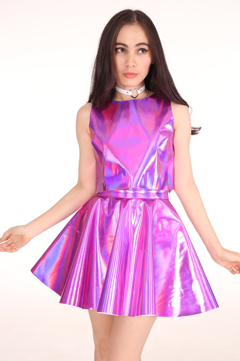 Image of Made To Order - Daniela 2 Piece Set in Pink Hologram