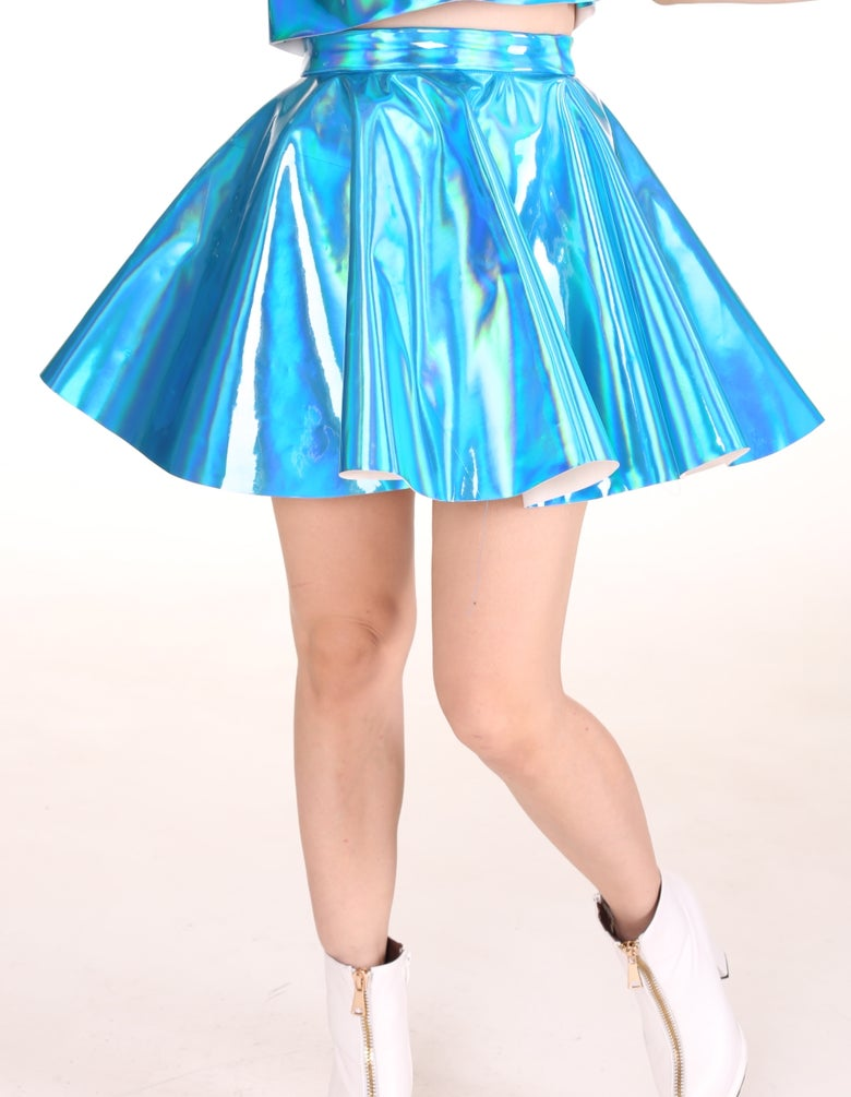 Image of Made To Order - Blue Hologram Skater Skirt.