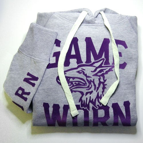 Image of GAME-WORN Ladies Pullover Hoodie - Mottled Grey/Purple