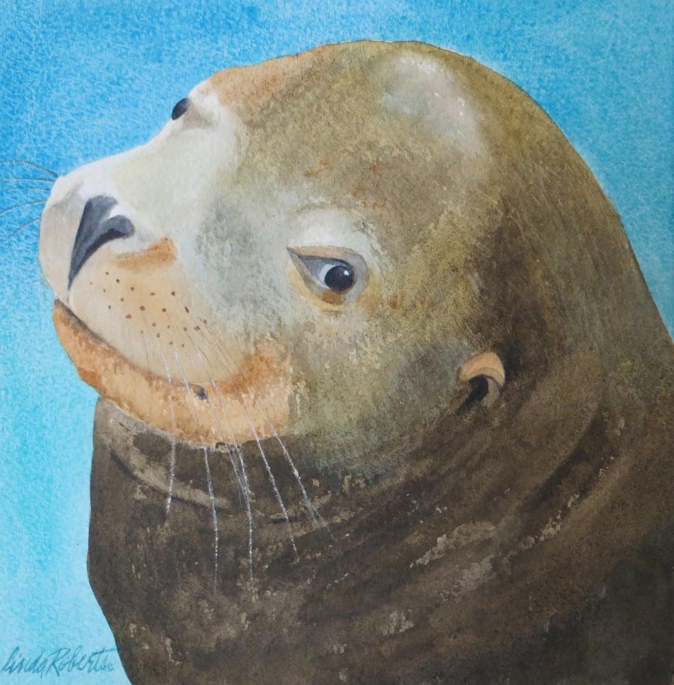 """Image of """"Sea Lion"""" original watercolor"""