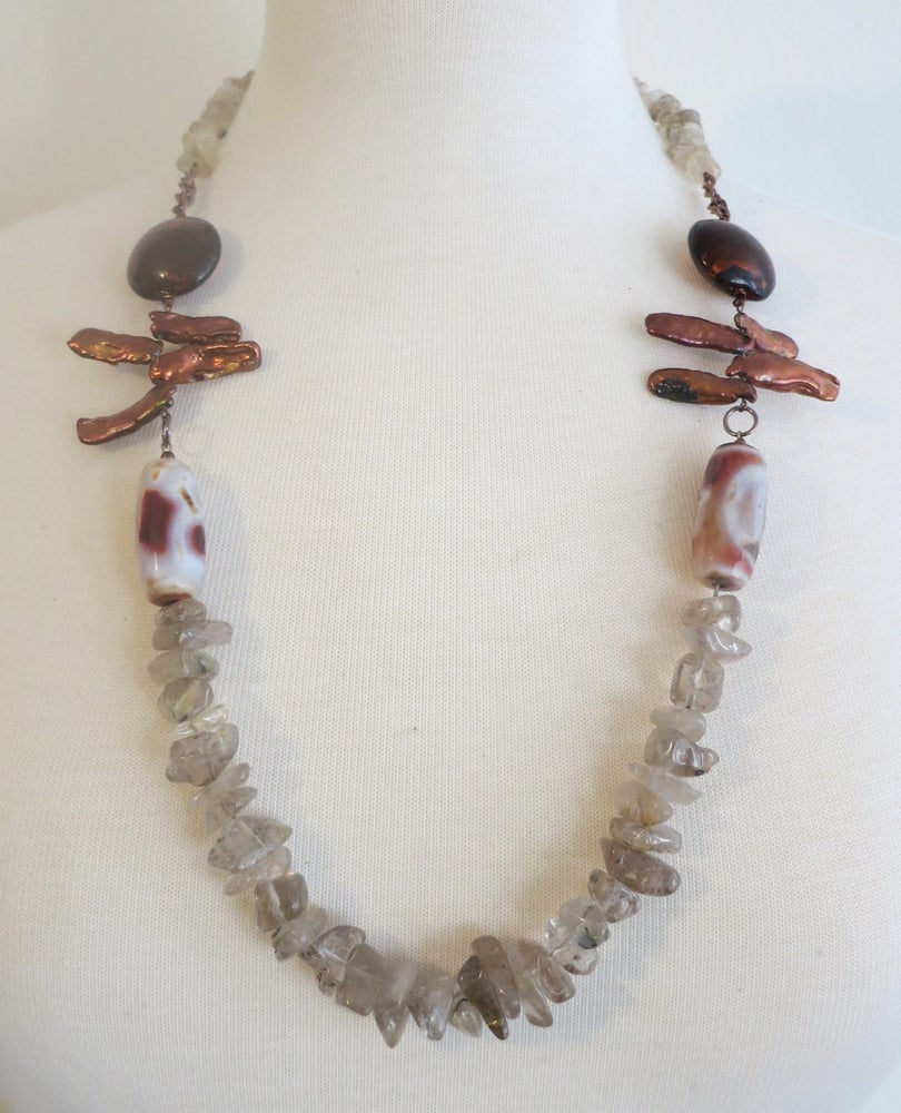 Image of Opera-length Orange Stick Pearl and Beige Chip Necklace