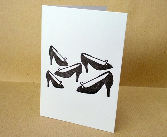 Image of Letterpress Greetings Card - Stiletto heels (A7 size, blank inside)