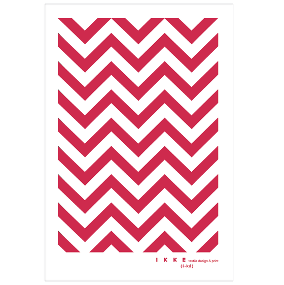 Image of Linen tea towel Chevron red
