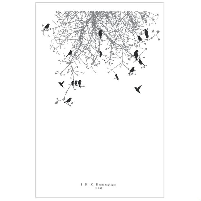 Image of Linen tea towel Branch with black birds
