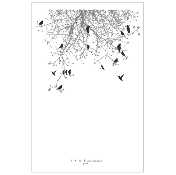 Image of Linen tea towel Branch with black birds