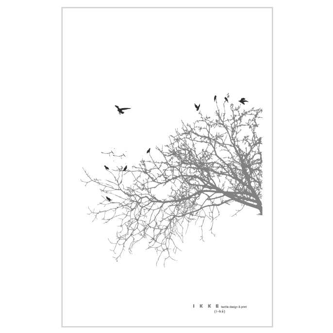Image of Linen tea towel Side branch with black birds