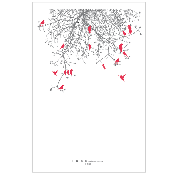 Image of Linen tea towel   Branch with red birds