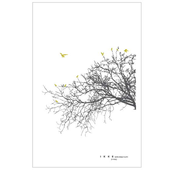 Image of Linen tea towel Side branch with lime birds